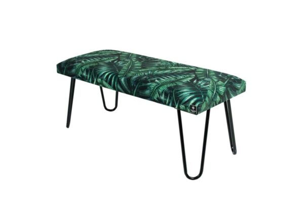Gepolsterte Sitzbank M-DEKO LGM-12 nach Maß, Sitz aus Velvet Muster Tropische Blätter und Metallbeine Schwarz