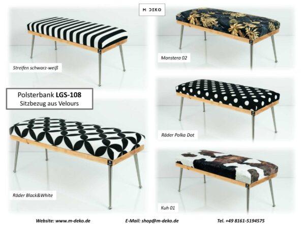 Collage Gepolsterte Sitzbänke M-DEKO LGS-108 Loft, nach Maß, Sitz aus Holz und gemustertem Velvet, Metallbeine