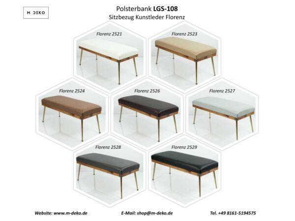 Collage Gepolsterte Sitzbänke M-DEKO LGS-108 Loft, nach Maß, Sitz aus Holz und Kunstleder, Metallbeine