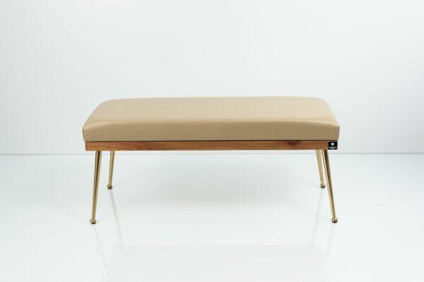 Gepolsterte Sitzbank M-DEKO LGS-108 Loft, nach Maß, Sitz aus Holz und beigem Kunstleder, Metallbeine