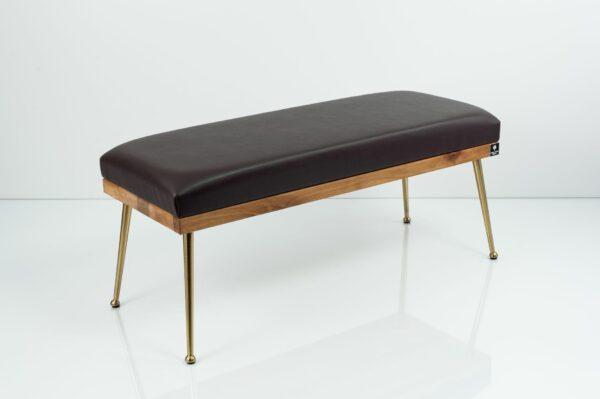 Gepolsterte Sitzbank M-DEKO LGS-108 Loft, nach Maß, Sitz aus Holz und dunkelbraunem Kunstleder, Metallbeine