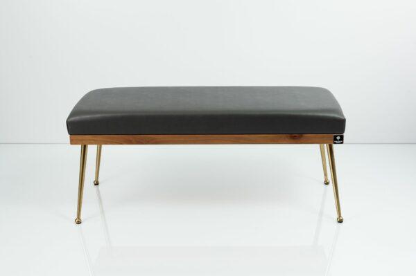 Gepolsterte Sitzbank M-DEKO LGS-108 Loft, nach Maß, Sitz aus Holz und dunkelgrauem Kunstleder, Metallbeine