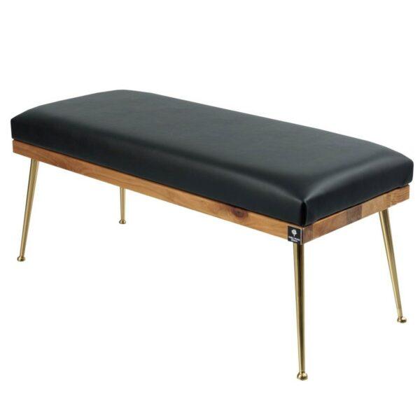 Gepolsterte Sitzbank M-DEKO LGS-108 Loft, nach Maß, Sitz aus Holz und schwarzem Kunstleder, Metallbeine