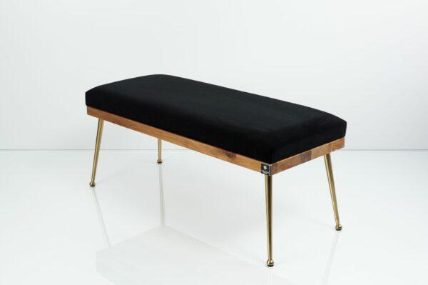 Gepolsterte Sitzbank M-DEKO LGS-108 Loft, nach Maß, Sitz aus Holz und schwarzem Velours, Metallbeine