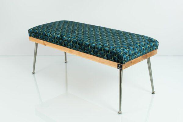 Gepolsterte Sitzbank M-DEKO LGS-108 Loft, nach Maß, Sitz aus Holz und gemustertem Velours, Metallbeine