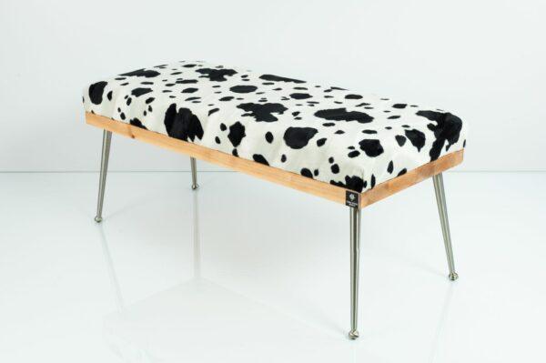 Gepolsterte Sitzbank M-DEKO LGS-108 Loft, nach Maß, Sitz aus Holz und gemustertem Velvet, Metallbeine