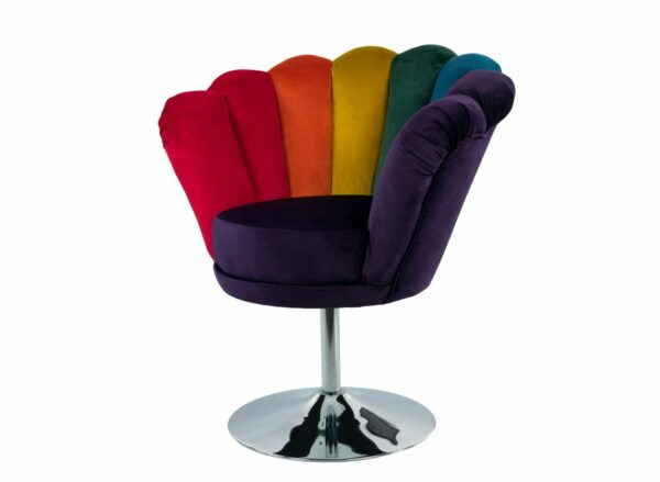 """Sessel Loungesessel M-DEKO Modell LUX """"Joker"""", Drehbar, Bezug aus Velours in Regenbogen Farben"""