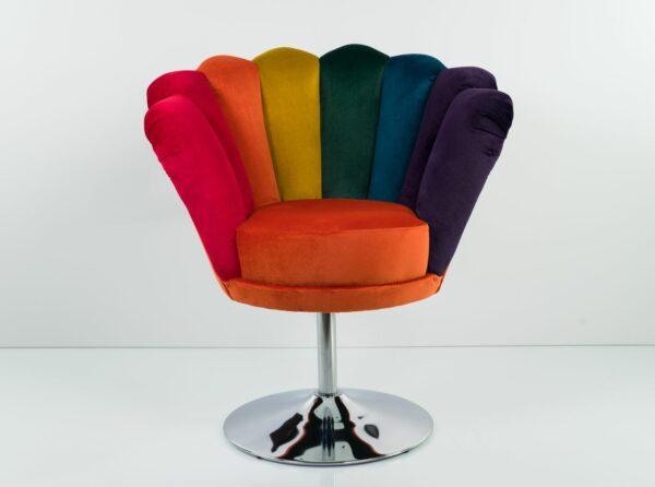 """Sessel Loungesessel M-DEKO Modell LUX """"Jocker"""", Drehbar, Bezug aus Velours in Regenbogen Farben"""