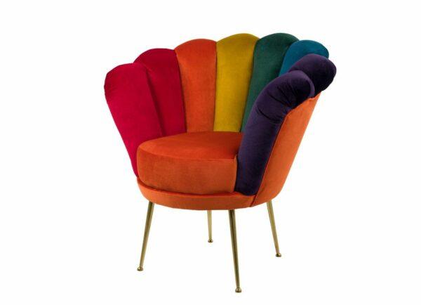 "Sessel Loungesessel M-DEKO Modell LUX ""Jocker"", Rundsessel mit Bezug aus Velours in Regenbogen Farben"