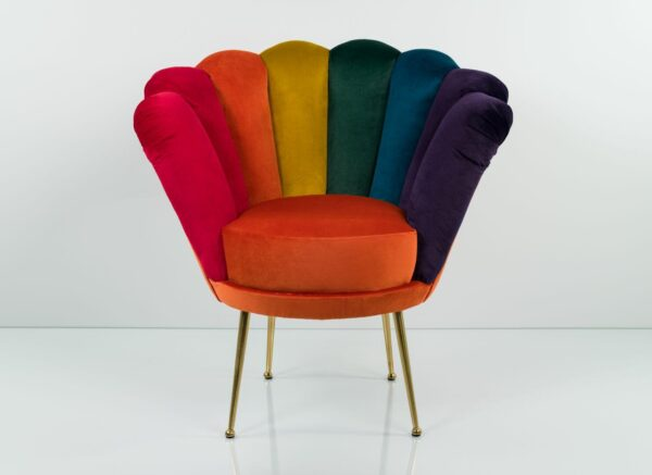 "Sessel Loungesessel M-DEKO Modell LUX ""Joker"", Rundsessel mit Bezug aus Velours in Regenbogen Farben"