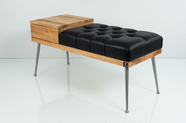 Gesteppte Sitzbank M-DEKO LPP-106 mit Schublade, Sitz aus Holz und Kunstleder, Metallbeine, nach Maß
