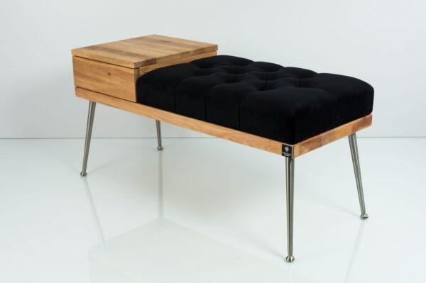 Gesteppte Sitzbank M-DEKO LPP-106 mit Schublade, Sitz aus Holz und Velvet, Metallbeine, nach Maß