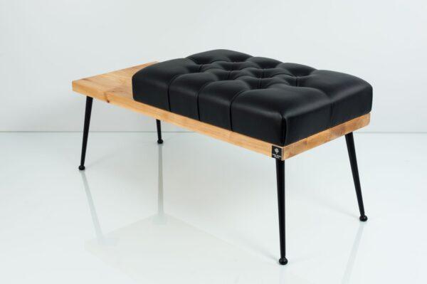 Gesteppte Sitzbank M-DEKO LPP-107 Loft, nach Maß, Sitz aus Holz und Kunstleder, Metallbeine