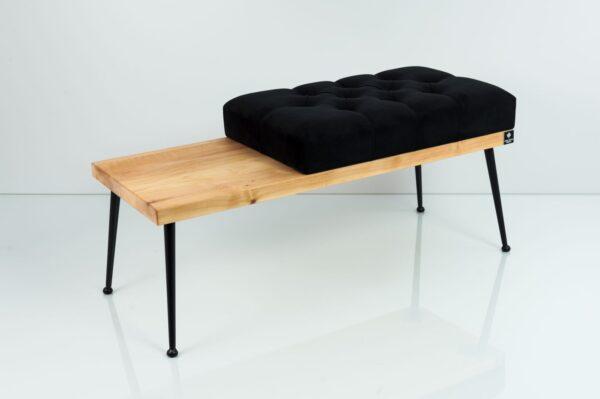 Gesteppte Sitzbank M-DEKO LPP-107 Loft, nach Maß, Sitz aus Holz und Velours, Metallbeine