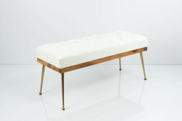 Gesteppte Sitzbank M-DEKO LPP-108 Loft, nach Maß, Sitz aus Holz und Kunstleder, Metallbeine