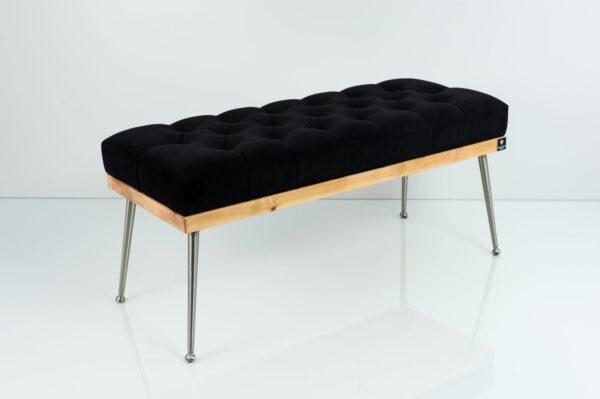 Gesteppte Sitzbank M-DEKO LPP-108 Loft, nach Maß, Sitz aus Holz und Velvet, Metallbeine