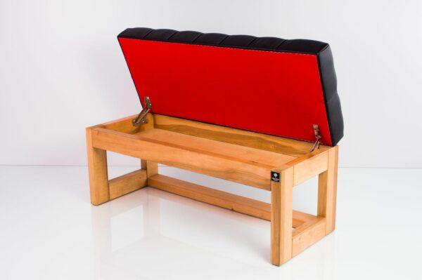 Gesteppte Sitzbank M-DEKO LPP-27 Chesterfield mit Stauraum, Gestell aus Holz, Bezug aus Kunstleder, nach Maß
