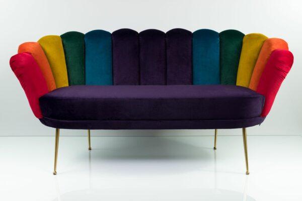"""Sofa Loungesofa M-DEKO Modell LUX """"Joker"""", Couch mit Bezug aus Velours in Regenbogen Farben"""